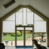 Gable end Pleated blinds are a fantastic solution to shaped windows, these are electrically operated